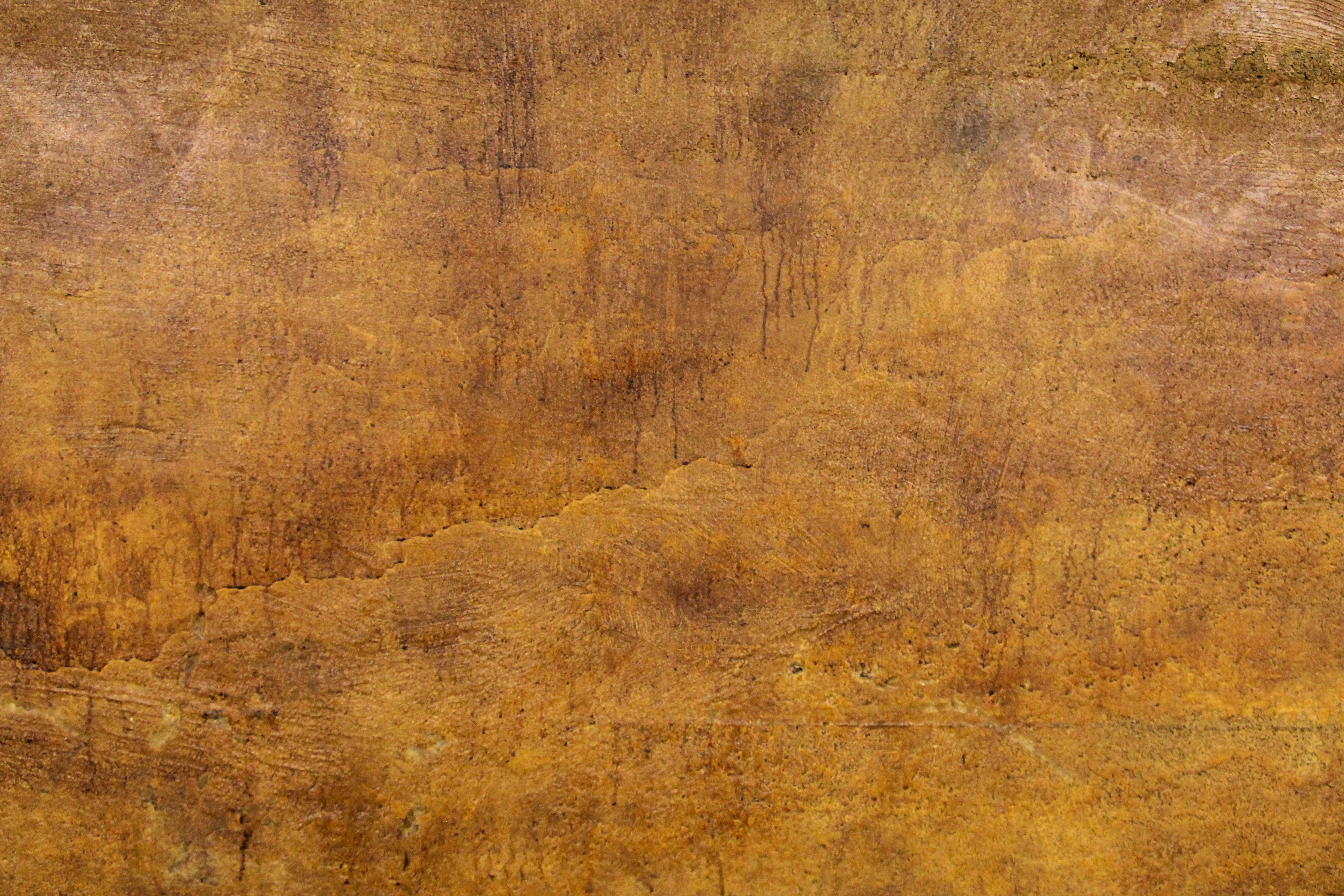 Grunge Texture Dripping Stained Concrete Wall Orange Brown